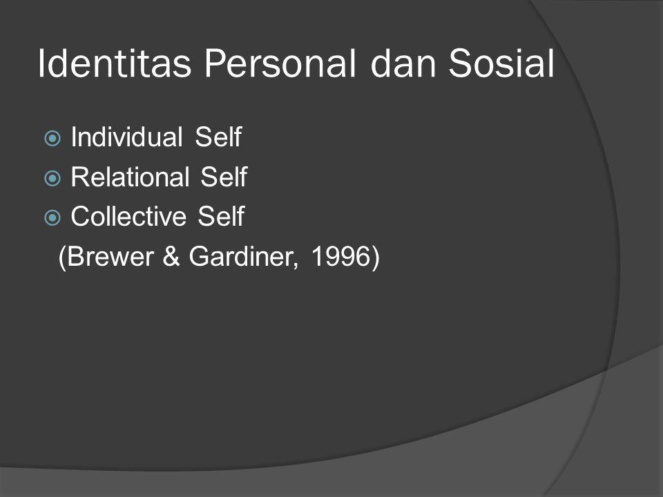 Identitas Personal dan Sosial  Individual Self  Relational Self  Collective Self (Brewer & Gardiner, 1996)
