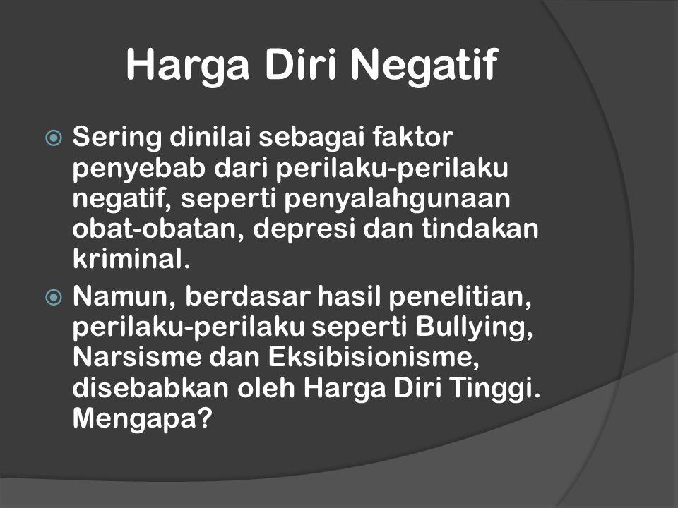 Harga Diri Negatif  Sering dinilai sebagai faktor penyebab dari perilaku-perilaku negatif, seperti penyalahgunaan obat-obatan, depresi dan tindakan kriminal.