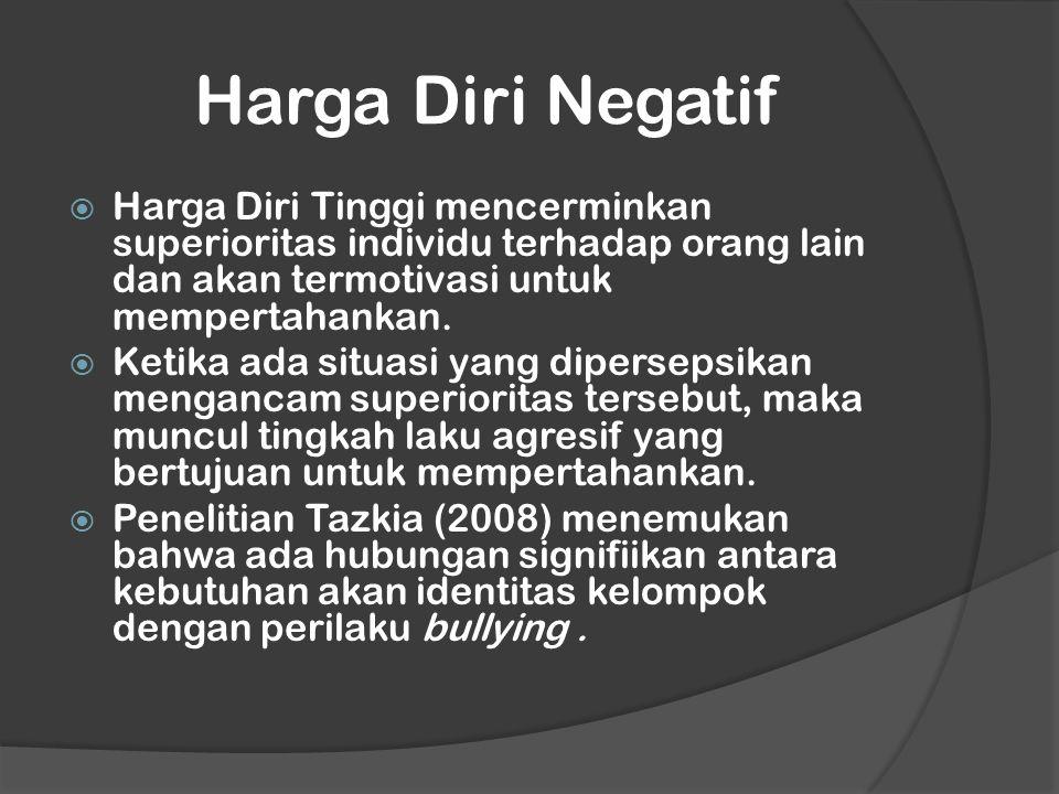Harga Diri Negatif  Harga Diri Tinggi mencerminkan superioritas individu terhadap orang lain dan akan termotivasi untuk mempertahankan.  Ketika ada