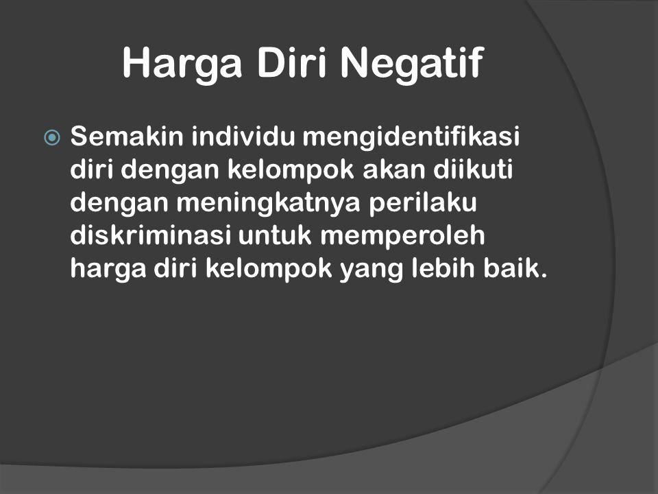 Harga Diri Negatif  Semakin individu mengidentifikasi diri dengan kelompok akan diikuti dengan meningkatnya perilaku diskriminasi untuk memperoleh harga diri kelompok yang lebih baik.
