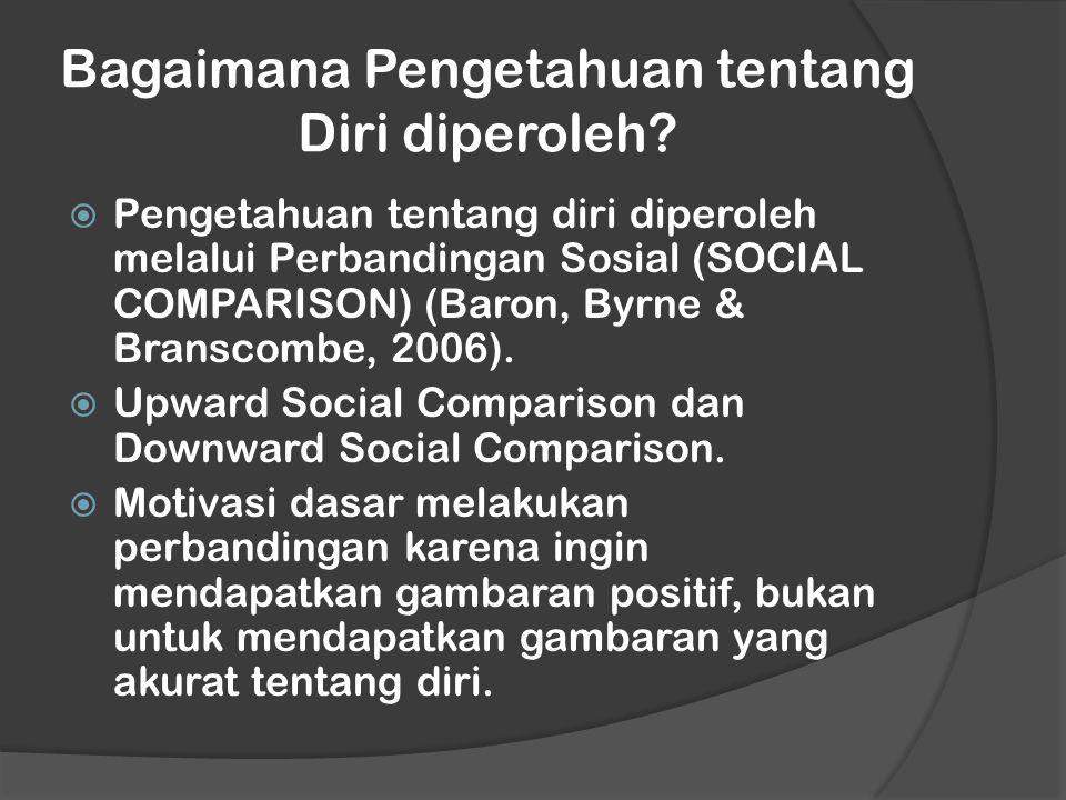 Bagaimana Pengetahuan tentang Diri diperoleh?  Pengetahuan tentang diri diperoleh melalui Perbandingan Sosial (SOCIAL COMPARISON) (Baron, Byrne & Bra