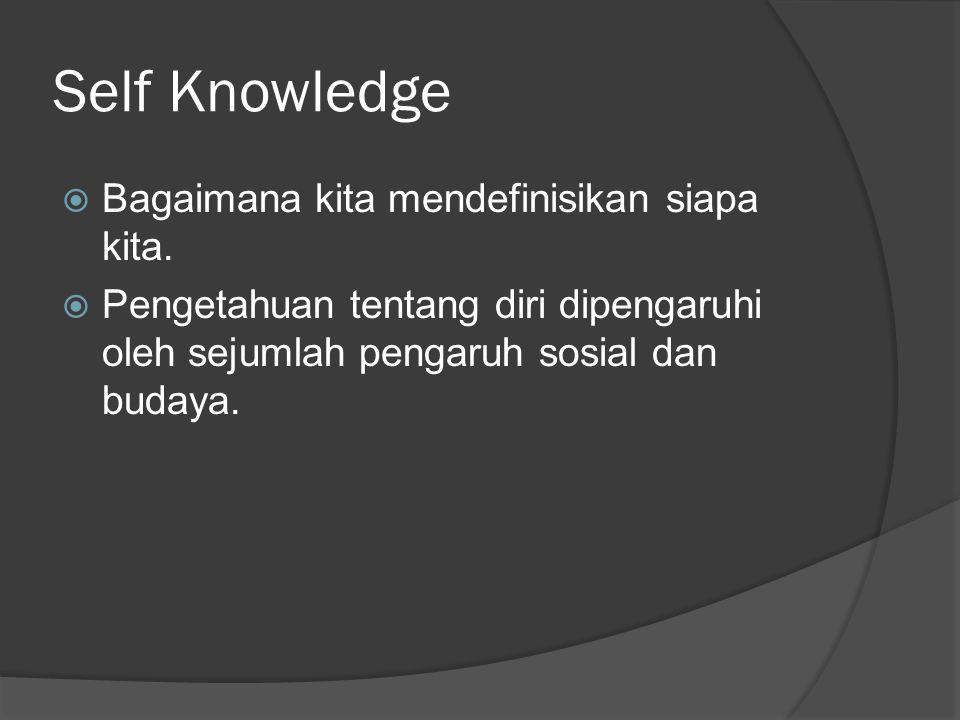 Self Knowledge  Bagaimana kita mendefinisikan siapa kita.  Pengetahuan tentang diri dipengaruhi oleh sejumlah pengaruh sosial dan budaya.