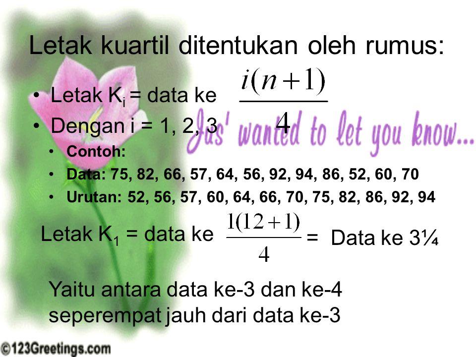 Letak kuartil ditentukan oleh rumus: Letak K i = data ke Dengan i = 1, 2, 3 Contoh: Data: 75, 82, 66, 57, 64, 56, 92, 94, 86, 52, 60, 70 Urutan: 52, 5