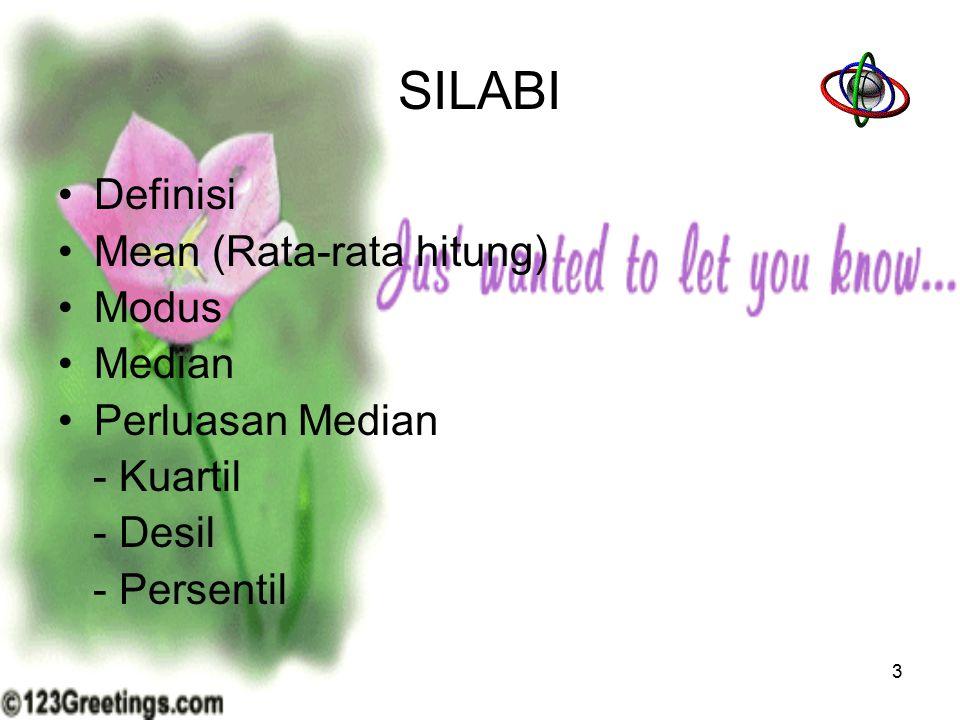 SILABI Definisi Mean (Rata-rata hitung) Modus Median Perluasan Median - Kuartil - Desil - Persentil 3