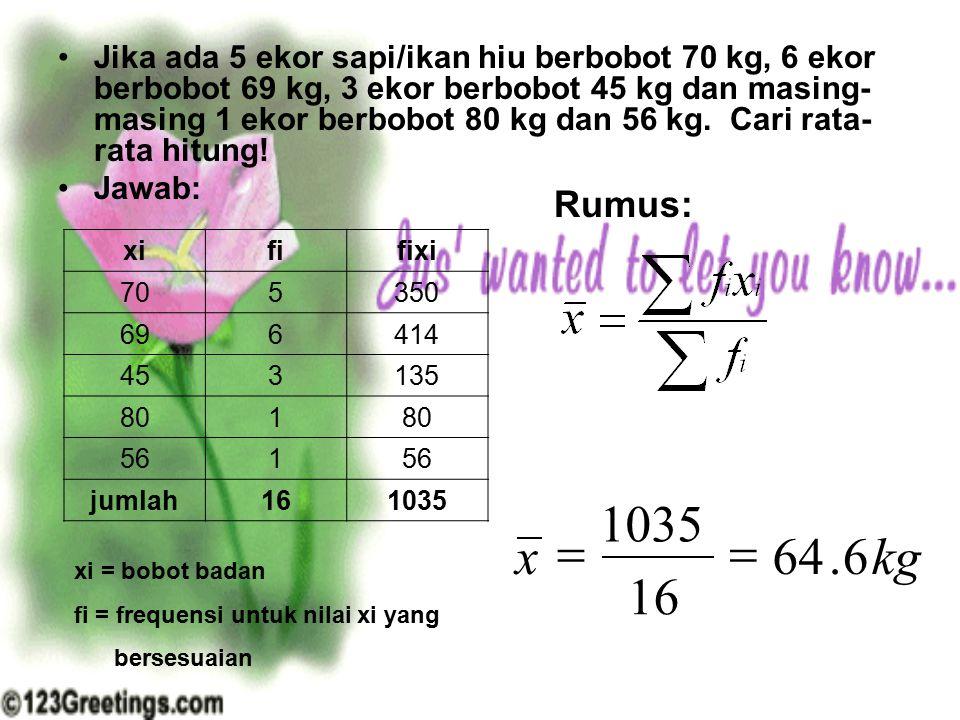 Jika ada 5 ekor sapi/ikan hiu berbobot 70 kg, 6 ekor berbobot 69 kg, 3 ekor berbobot 45 kg dan masing- masing 1 ekor berbobot 80 kg dan 56 kg. Cari ra