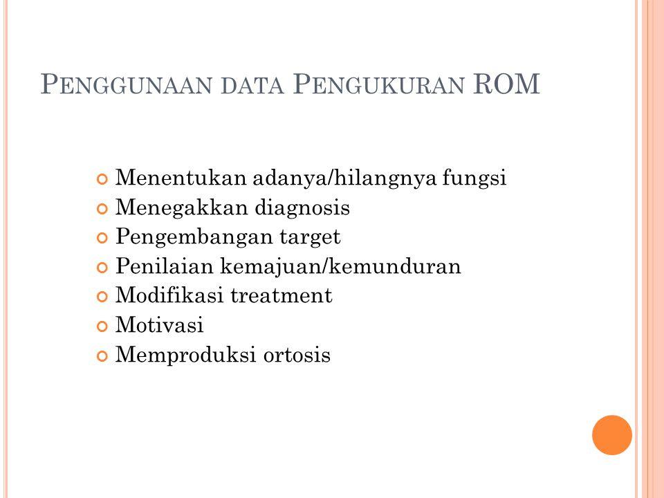P ENGGUNAAN DATA P ENGUKURAN ROM Menentukan adanya/hilangnya fungsi Menegakkan diagnosis Pengembangan target Penilaian kemajuan/kemunduran Modifikasi