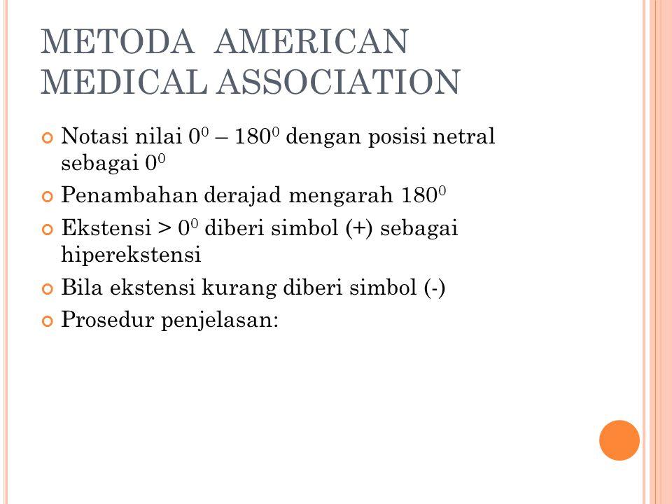 METODA AMERICAN MEDICAL ASSOCIATION Notasi nilai 0 0 – 180 0 dengan posisi netral sebagai 0 0 Penambahan derajad mengarah 180 0 Ekstensi > 0 0 diberi
