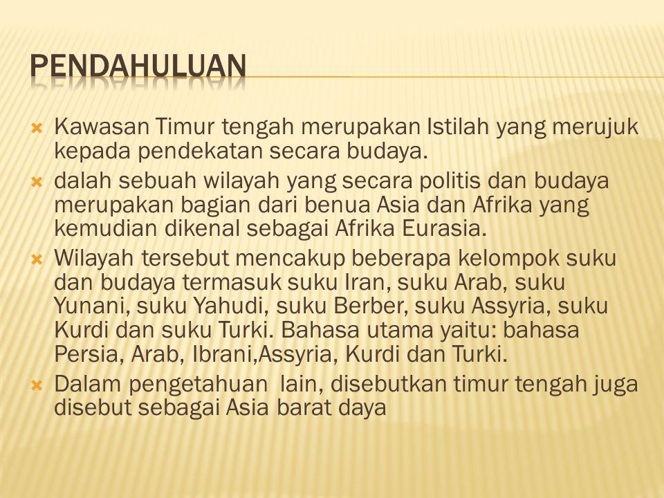 Kawasan Timur tengah merupakan Istilah yang merujuk kepada pendekatan secara budaya.  dalah sebuah wilayah yang secara politis dan budaya merupakan