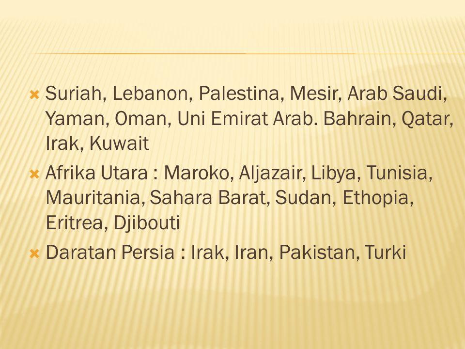 Suriah, Lebanon, Palestina, Mesir, Arab Saudi, Yaman, Oman, Uni Emirat Arab. Bahrain, Qatar, Irak, Kuwait  Afrika Utara : Maroko, Aljazair, Libya,