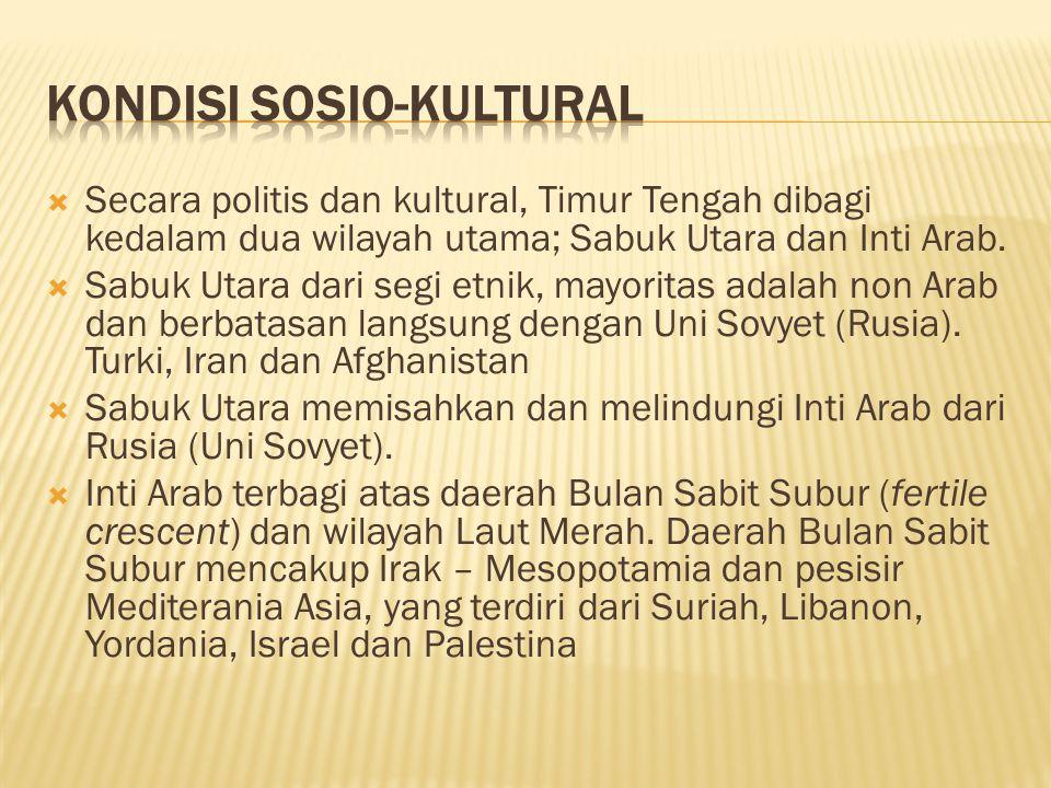  Secara politis dan kultural, Timur Tengah dibagi kedalam dua wilayah utama; Sabuk Utara dan Inti Arab.  Sabuk Utara dari segi etnik, mayoritas adal