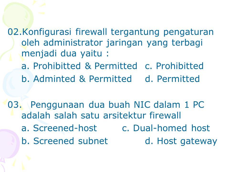 02.Konfigurasi firewall tergantung pengaturan oleh administrator jaringan yang terbagi menjadi dua yaitu : a. Prohibitted & Permitted c. Prohibitted b