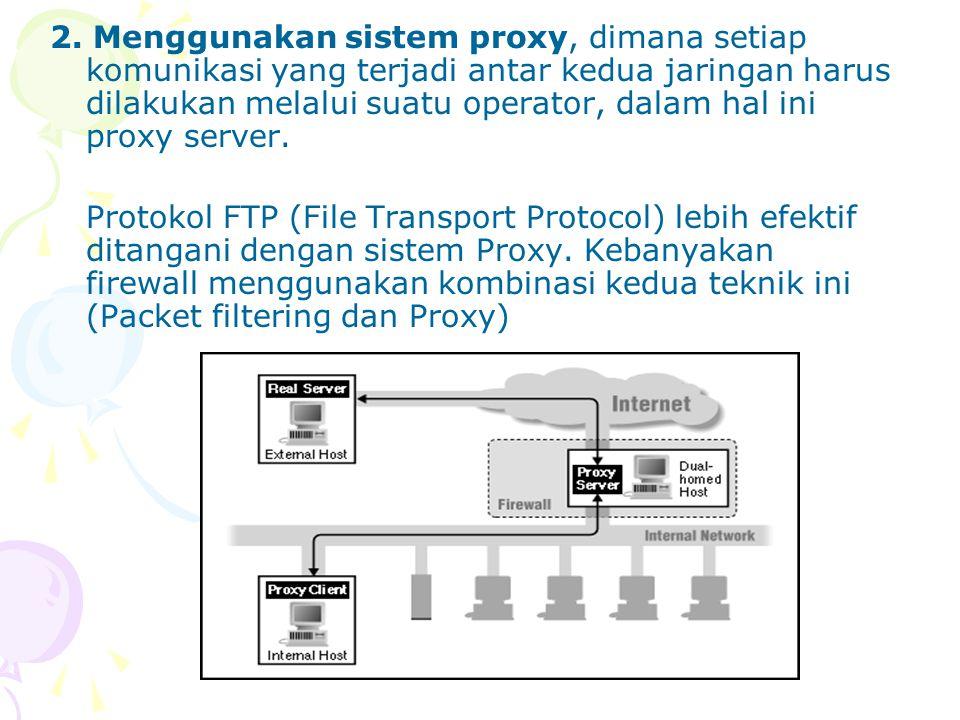 Beberapa perangkat lunak berbasis UNIX yang dapat digunakan untuk melakukan IP filtering antara lain: ipfwadm: merupakan standar dari sistem Linux yang dapat diaktifkan pada level kernel ipchains: versi baru dari Linux kernel packet filtering yang diharapkan dapat menggantikan fungsi ipfwadm Fungsi proxy dapat dilakukan oleh berbagai software tergantung kepada jenis proxy yang dibutuhkan, misalnya web proxy, rlogin proxy, ftp proxy dan seterusnya.