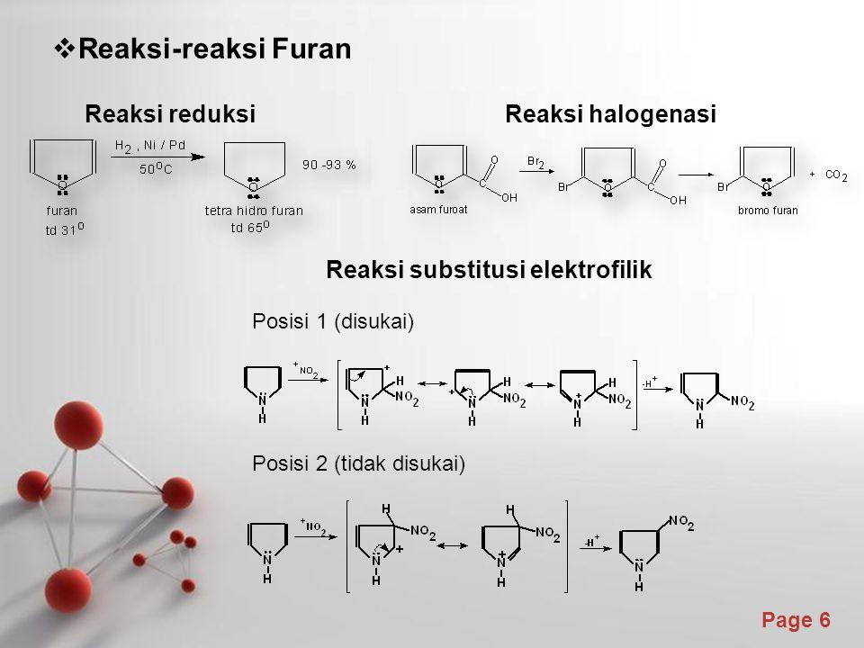 Page 6  Reaksi-reaksi Furan Reaksi reduksi Reaksi halogenasi Reaksi substitusi elektrofilik Posisi 1 (disukai) Posisi 2 (tidak disukai)