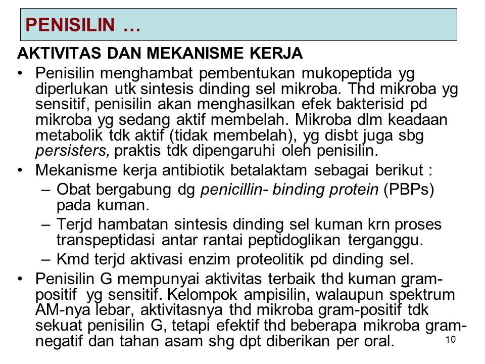 10 PENISILIN … AKTIVITAS DAN MEKANISME KERJA Penisilin menghambat pembentukan mukopeptida yg diperlukan utk sintesis dinding sel mikroba.
