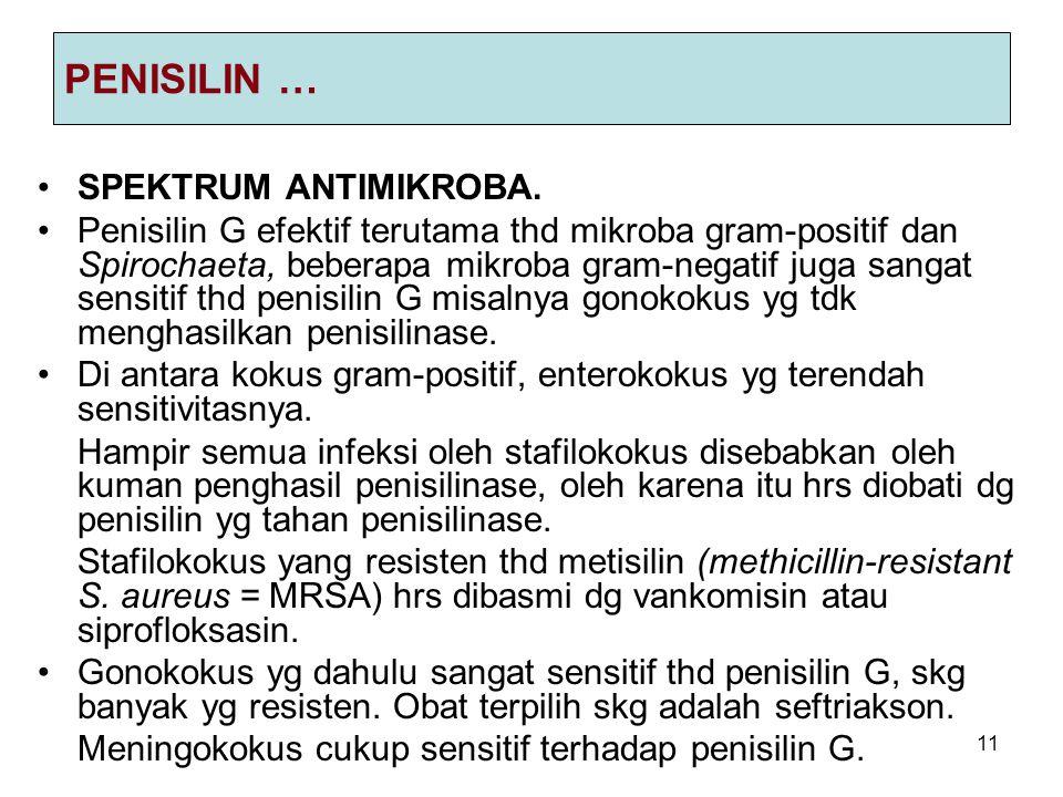 11 PENISILIN … SPEKTRUM ANTIMIKROBA. Penisilin G efektif terutama thd mikroba gram-positif dan Spirochaeta, beberapa mikroba gram-negatif juga sangat