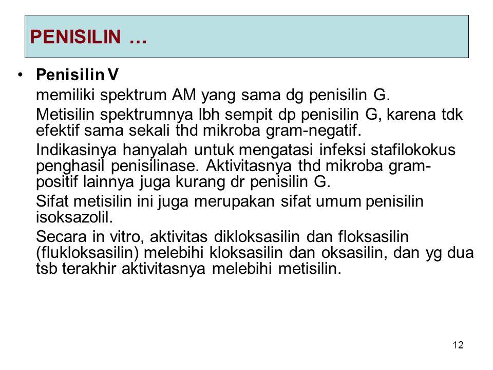 12 PENISILIN … Penisilin V memiliki spektrum AM yang sama dg penisilin G. Metisilin spektrumnya lbh sempit dp penisilin G, karena tdk efektif sama sek