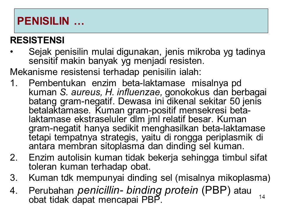 14 PENISILIN … RESISTENSI Sejak penisilin mulai digunakan, jenis mikroba yg tadinya sensitif makin banyak yg menjadi resisten. Mekanisme resistensi te