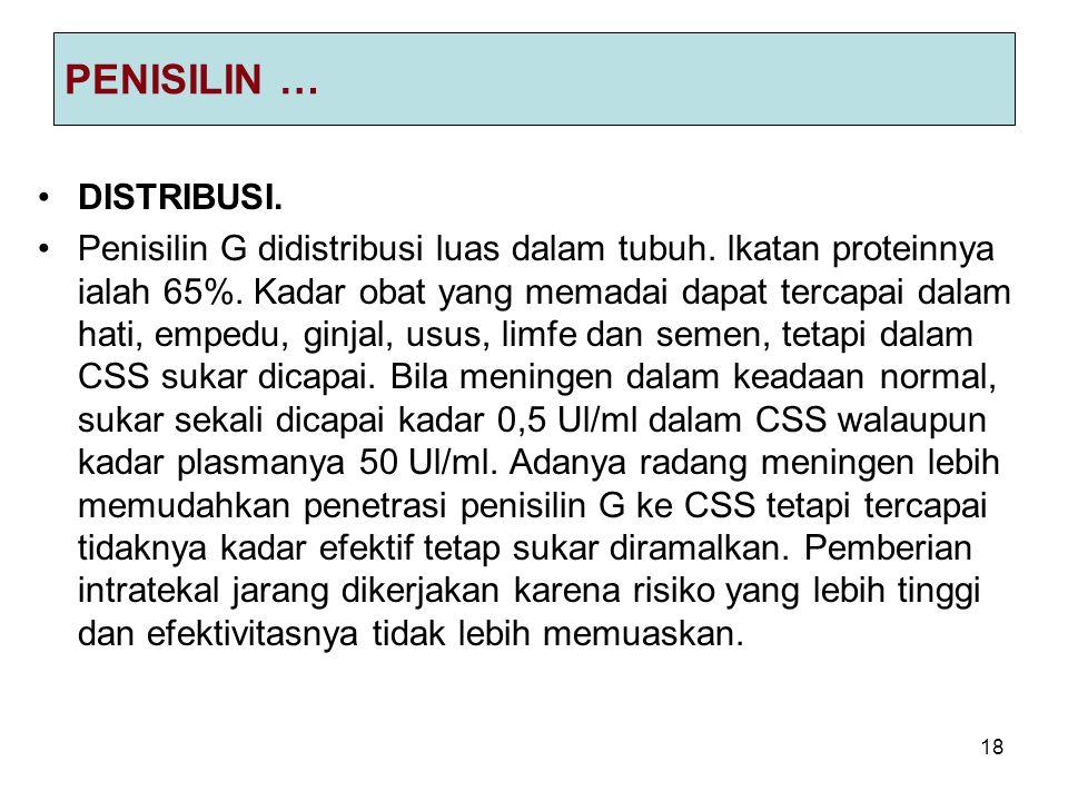 18 PENISILIN … DISTRIBUSI.Penisilin G didistribusi luas dalam tubuh.