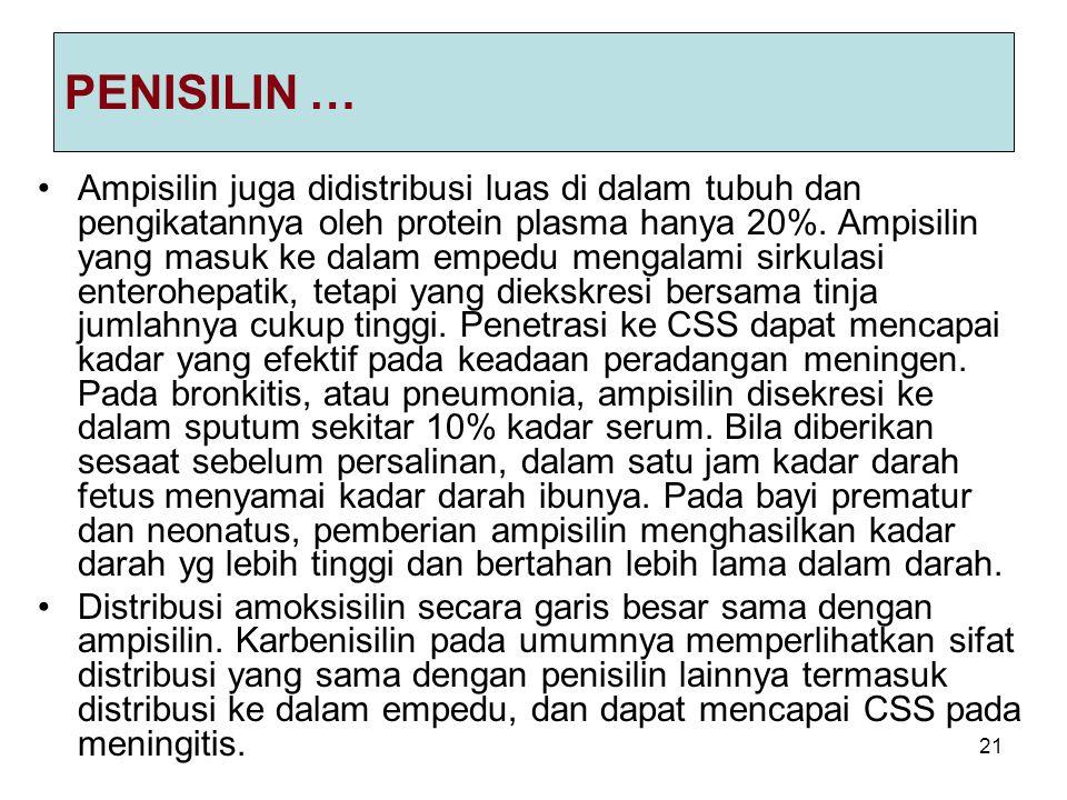 21 PENISILIN … Ampisilin juga didistribusi luas di dalam tubuh dan pengikatannya oleh protein plasma hanya 20%.