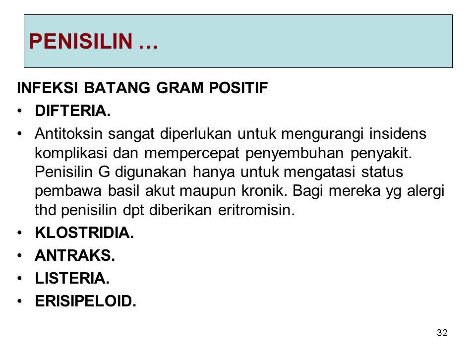 32 PENISILIN … INFEKSI BATANG GRAM POSITIF DIFTERIA. Antitoksin sangat diperlukan untuk mengurangi insidens komplikasi dan mempercepat penyembuhan pen