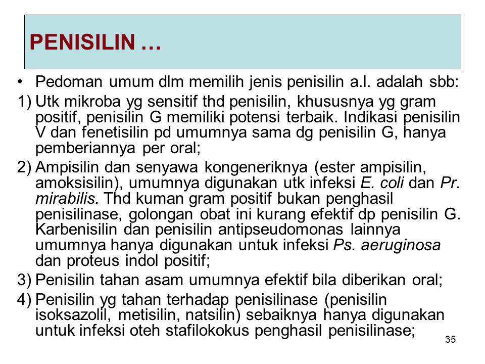 35 PENISILIN … Pedoman umum dlm memilih jenis penisilin a.l. adalah sbb: 1)Utk mikroba yg sensitif thd penisilin, khususnya yg gram positif, penisilin