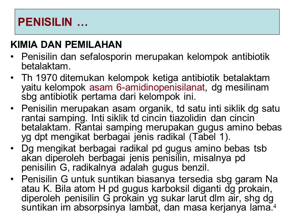 4 PENISILIN … KIMIA DAN PEMILAHAN Penisilin dan sefalosporin merupakan kelompok antibiotik betalaktam. Th 1970 ditemukan kelompok ketiga antibiotik be