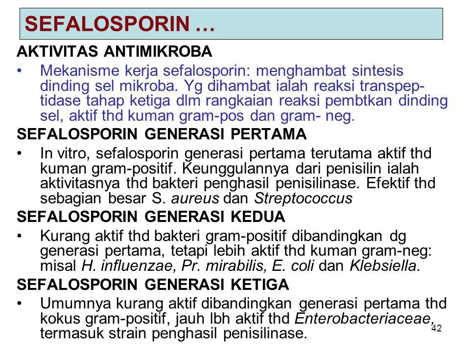 42 SEFALOSPORIN … AKTIVITAS ANTIMIKROBA Mekanisme kerja sefalosporin: menghambat sintesis dinding sel mikroba. Yg dihambat ialah reaksi transpep- tida