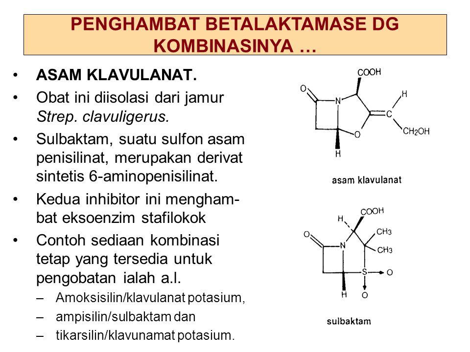 52 ASAM KLAVULANAT. Obat ini diisolasi dari jamur Strep. clavuligerus. Sulbaktam, suatu sulfon asam penisilinat, merupakan derivat sintetis 6-aminopen