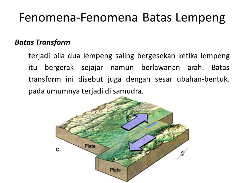 Fenomena-Fenomena Batas Lempeng Batas Transform terjadi bila dua lempeng saling bergesekan ketika lempeng itu bergerak sejajar namun berlawanan arah.