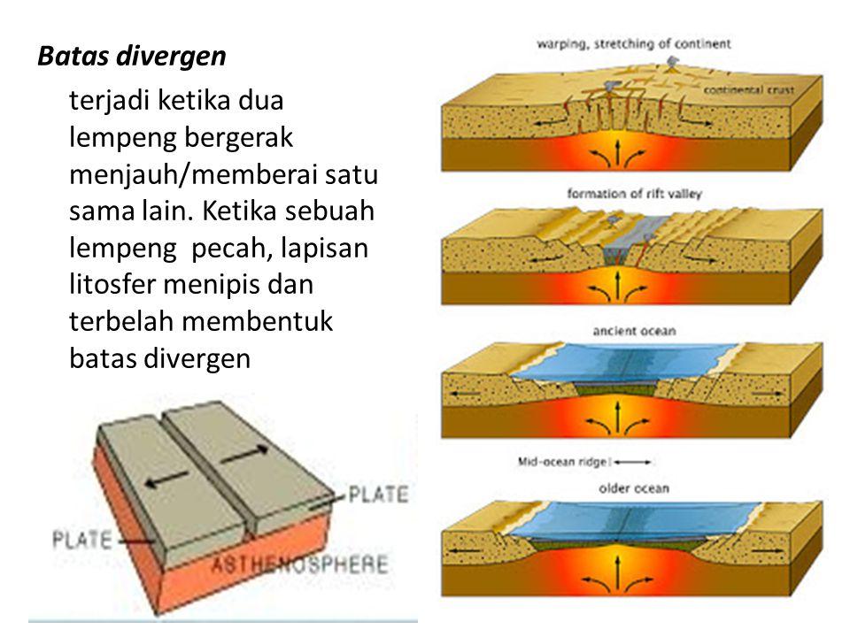 Batas divergen terjadi ketika dua lempeng bergerak menjauh/memberai satu sama lain. Ketika sebuah lempeng pecah, lapisan litosfer menipis dan terbelah