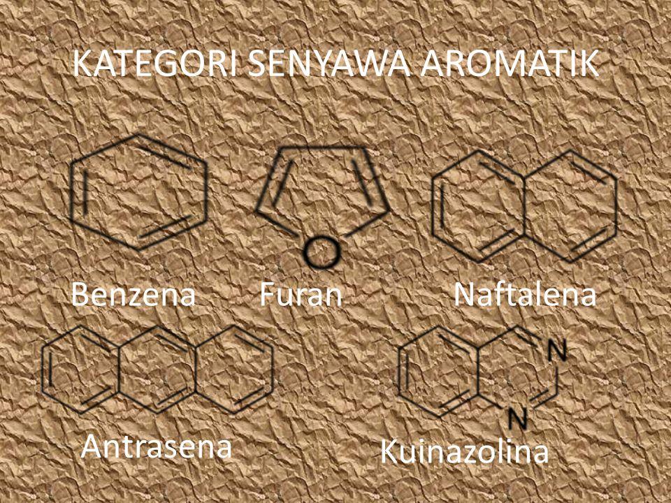 KATEGORI SENYAWA AROMATIK BenzenaFuranNaftalena Antrasena Kuinazolina