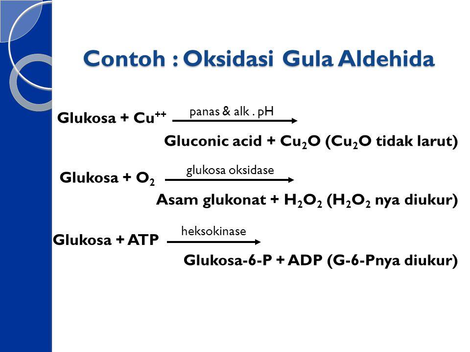 Contoh : Oksidasi Gula Aldehida Glukosa + Cu ++ Gluconic acid + Cu 2 O (Cu 2 O tidak larut) Glukosa + O 2 Asam glukonat + H 2 O 2 (H 2 O 2 nya diukur)