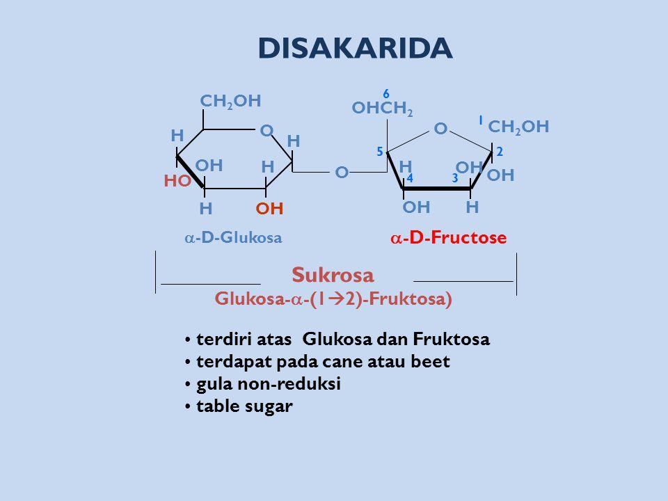 Sukrosa Glukosa-  -(1  2)-Fruktosa) DISAKARIDA terdiri atas Glukosa dan Fruktosa terdapat pada cane atau beet gula non-reduksi table sugar O H HO OH