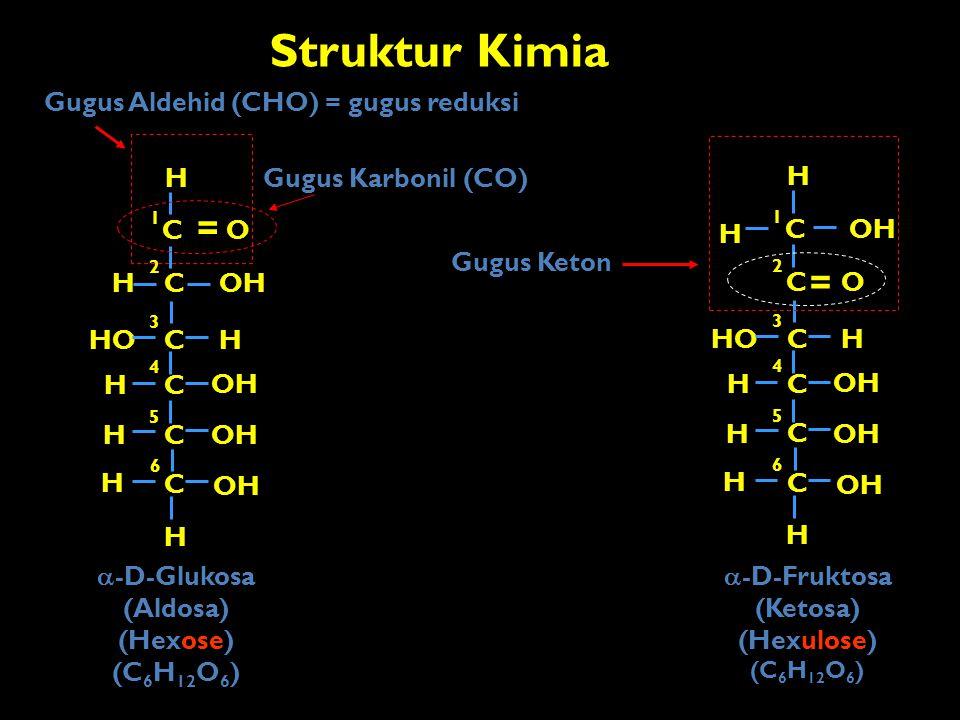 Struktur Kimia C OH H C C C C C H H H HO OH H H O H = O H HO OH H CH 2 OH H H  -D-Glukosa 1 2 3 4 5 6 1 2 3 4 5 6 (Aldosa) (Aldohexose) Gugus Karbonil (CO) Gugus Aldehid (CHO) = gugus reduksi Atom C asimetris terjauh dari karbonil (CO) Sebagai dasar penamaan D (OH dikanan) dan L (OH di kiri) H OH 1  Atom C Chiral