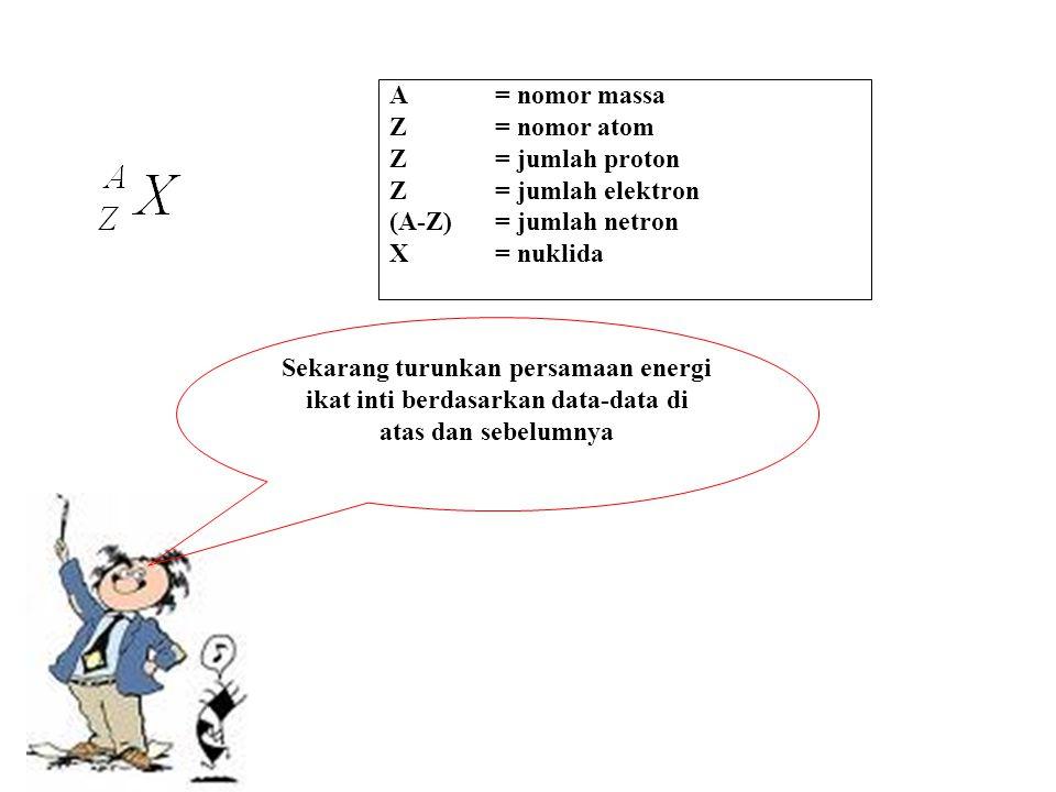 A= nomor massa Z = nomor atom Z = jumlah proton Z= jumlah elektron (A-Z) = jumlah netron X = nuklida Sekarang turunkan persamaan energi ikat inti berd
