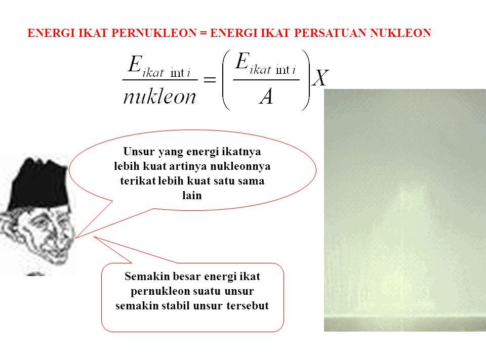 ENERGI IKAT PERNUKLEON = ENERGI IKAT PERSATUAN NUKLEON Unsur yang energi ikatnya lebih kuat artinya nukleonnya terikat lebih kuat satu sama lain Semak