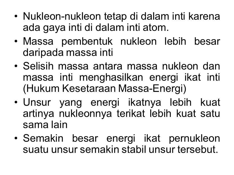 Nukleon-nukleon tetap di dalam inti karena ada gaya inti di dalam inti atom. Massa pembentuk nukleon lebih besar daripada massa inti Selisih massa ant
