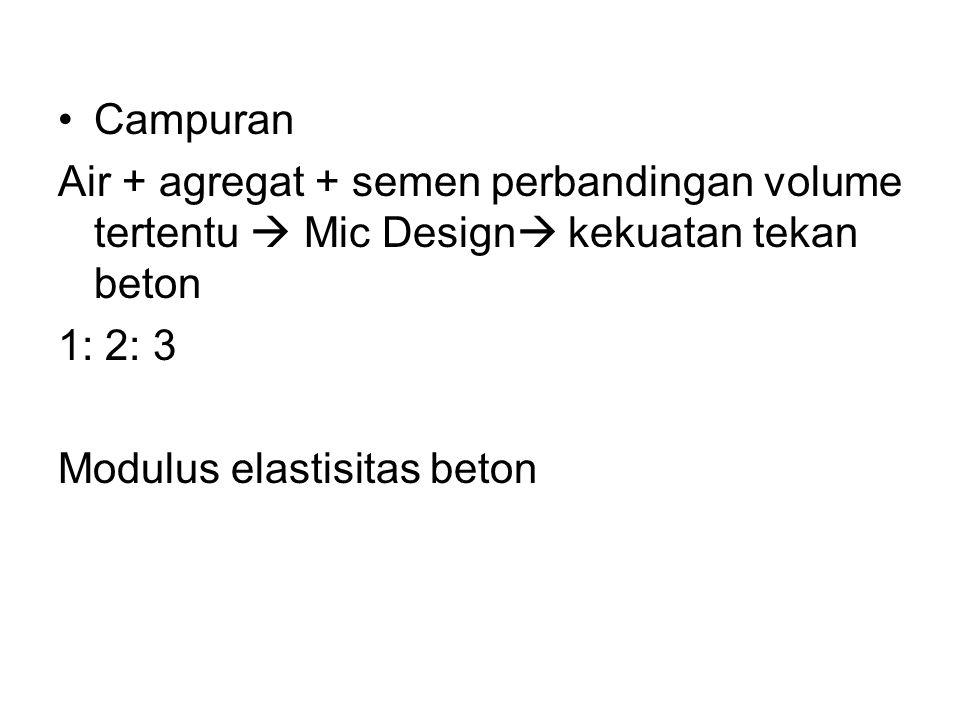 Campuran Air + agregat + semen perbandingan volume tertentu  Mic Design  kekuatan tekan beton 1: 2: 3 Modulus elastisitas beton