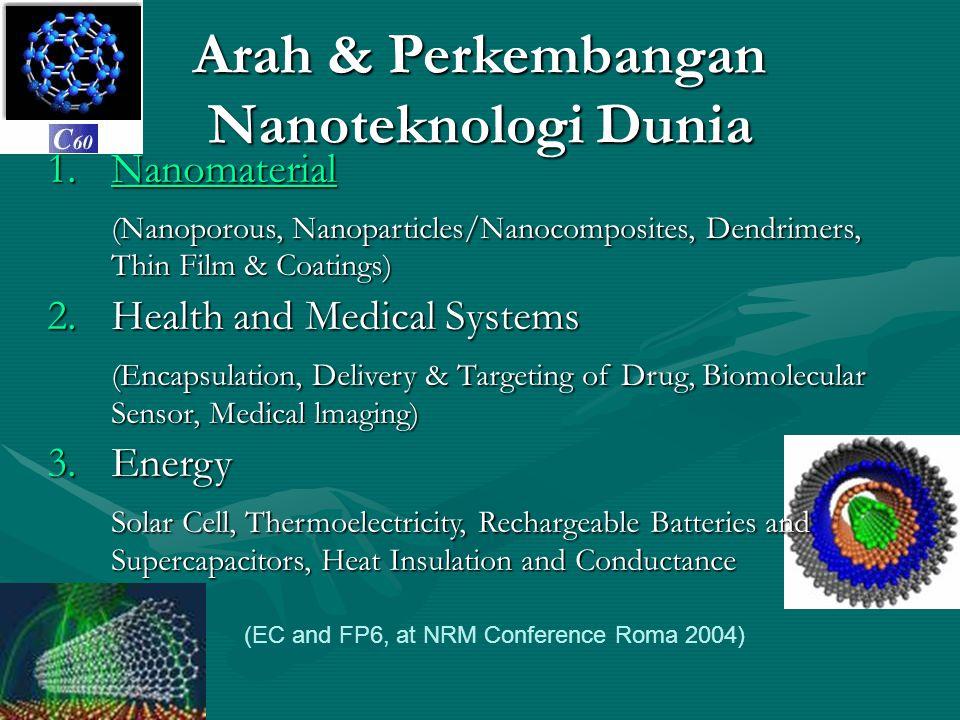 Arah & Perkembangan Nanoteknologi Dunia (EC and FP6, at NRM Conference Roma 2004) 1.Nanomaterial Nanomaterial (Nanoporous, Nanoparticles/Nanocomposite