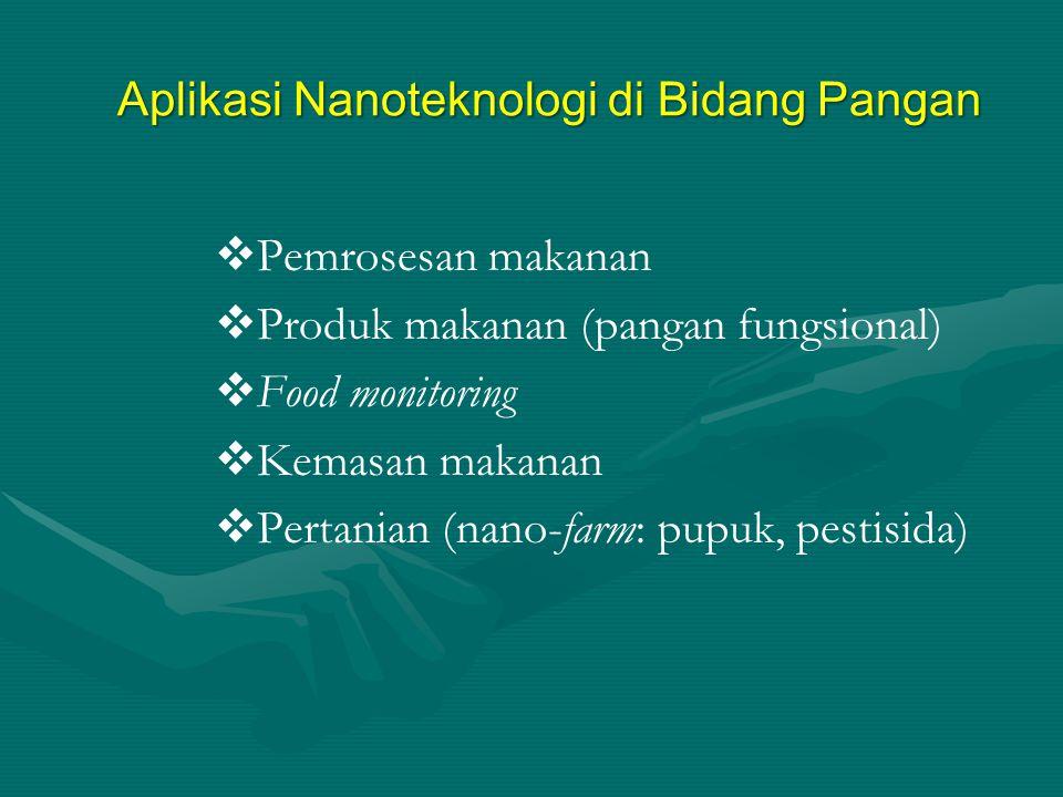  Pemrosesan makanan  Produk makanan (pangan fungsional)  Food monitoring  Kemasan makanan  Pertanian (nano-farm: pupuk, pestisida) Aplikasi Nanot