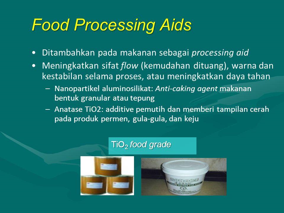 Ditambahkan pada makanan sebagai processing aid Meningkatkan sifat flow (kemudahan dituang), warna dan kestabilan selama proses, atau meningkatkan day