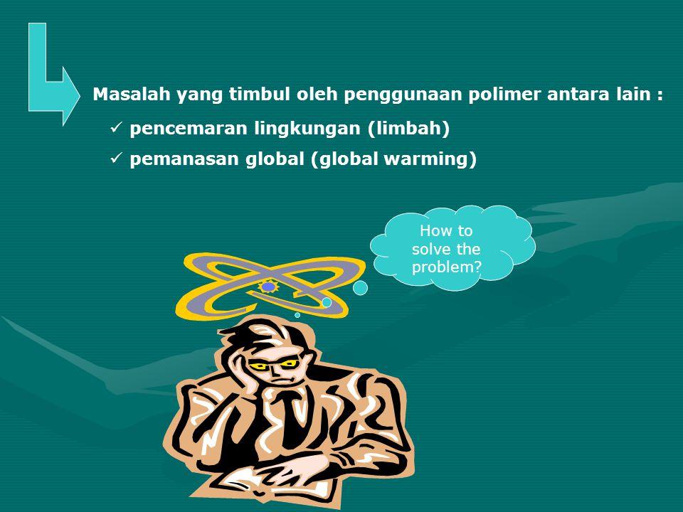 How to solve the problem? pencemaran lingkungan (limbah) pemanasan global (global warming) Masalah yang timbul oleh penggunaan polimer antara lain :