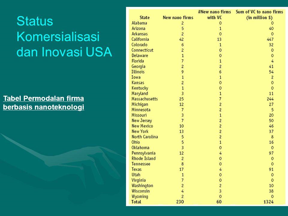 Tabel Permodalan firma berbasis nanoteknologi Status Komersialisasi dan Inovasi USA
