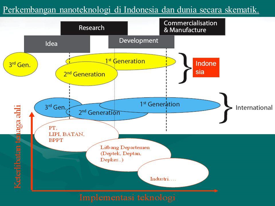 Perkembangan nanoteknologi di Indonesia dan dunia secara skematik. Indone sia