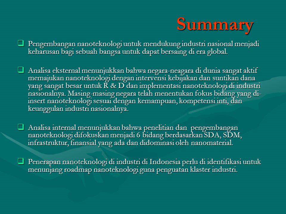 Summary  Pengembangan nanoteknologi untuk mendukung industri nasional menjadi keharusan bagi sebuah bangsa untuk dapat bersaing di era global.  Anal