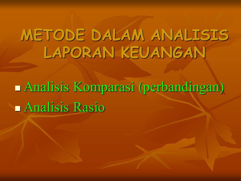 METODE DALAM ANALISIS LAPORAN KEUANGAN Analisis Komparasi (perbandingan) Analisis Komparasi (perbandingan) Analisis Rasio Analisis Rasio