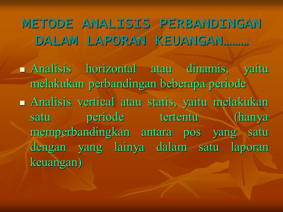 METODE ANALISIS PERBANDINGAN DALAM LAPORAN KEUANGAN……… Analisis horizontal atau dinamis, yaitu melakukan perbandingan beberapa periode Analisis vertic