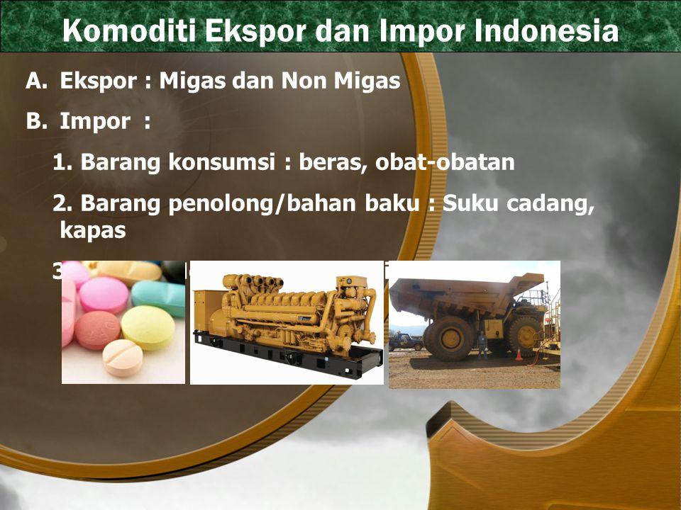 Komoditi Ekspor dan Impor Indonesia A.Ekspor : Migas dan Non Migas B.Impor : 1. Barang konsumsi : beras, obat-obatan 2. Barang penolong/bahan baku : S