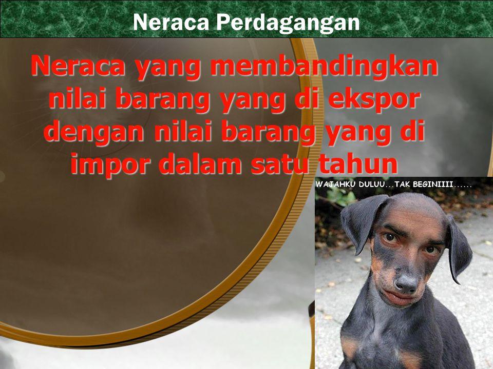 Neraca Perdagangan Neraca yang membandingkan nilai barang yang di ekspor dengan nilai barang yang di impor dalam satu tahun