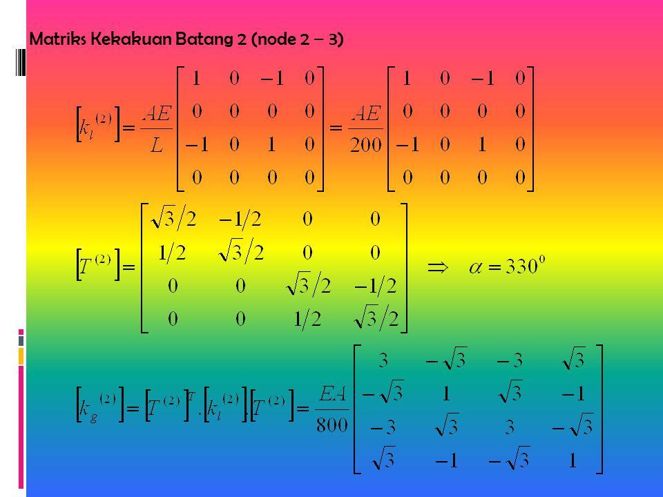 Matriks Kekakuan Batang 2 (node 2 – 3)
